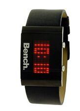 Orologio da polso BENCH - LED rosso cinturino nero in pelle - 30M impermeabile