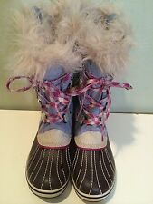 SOREL YOUTH TOFINO BLUE SUEDE LACE UP MIRAGE STONE FAUX FUR LINED BOOTS NEW 5