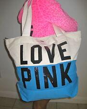 Victoria Secret Pink Dog Black Bling Blue Tote Beach Weekender zipper Bag RARE