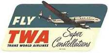 TWA (Super Constellation)  Vintage-Looking  Airline  Sticker/Decal/Luggage Label