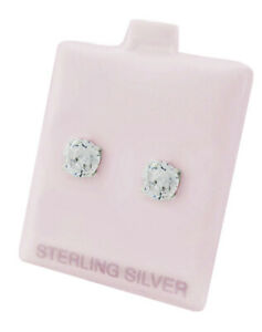 WHITE SAPPHIRE 5.68 Cts STUD EARRINGS .925 STERLING SILVER * New With Tag *