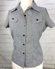 Bettie Page Tatyana Gingham Plaid Blouse Black Pinup Retro Rockabilly Size S