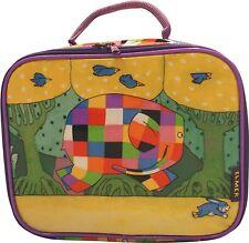 Elmer El Elefante con cremallera bolsa de almuerzo con asa de transporte fácil de limpiar Escuela Guarderia