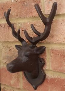 Stag Deer Antler Cast Iron Vintage Chic  Metal Shabby Gift Trophy Wall Mount New