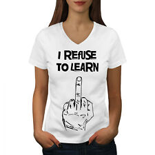 Wellcoda Refuse To Learn Funny Womens V-Neck T-shirt, Middle Graphic Design Tee