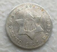 1851 3 Cent Silver Extremely Fine XF Details Bent Cleaned Retoned Trime