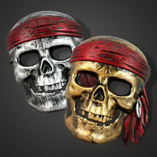 2x Halloween Costume Mens Pirate Mask Funny Party Horror Night gold silver color