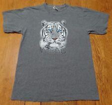 #3213-9 VANISHING White Tiger Graphic T-Shirt Made in USA W-M
