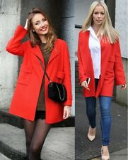 Zara Woman Round Neck Hand Made Coat Jacket Cape in Red Wool Size Medium
