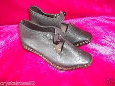 Gorgeous Antique Childs Leather and Wood Shoes / Lancashire Clogs