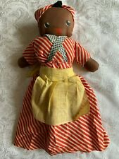 """Antique hand made black lady cloth doll with painted face 14"""" Vintage And Rare!"""