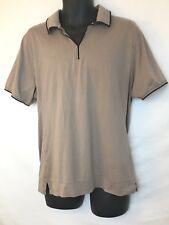 Cutter & Buck Men's Short Sleeve Brown, Black Trim Golf Polo Shirt, Meas as XL