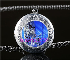 White Tiger with baby Cabochon Glass Tibet Silver Locket Pendant Necklace#B92
