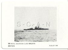 WWII Double Sided Recognition Photo Card- Navy Battleship BB Malaya- August 1944