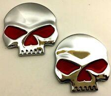 x2 New Custom Chrome / Red Skull Punisher Emblem / Badge / Decal OEM Nasty HP