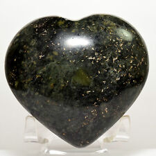 "2.9"" Nephrite Puffy Heart Deep Green Natural ""Inca Jade"" Crystal Stone - Peru"