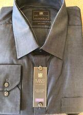 "M&s Herren Tailored Hemd 18.5"" Kragen Indigo"