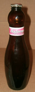 Vintage 1997 Budweiser Bowling Pin Bottle Collectible Empty Glass Beer Pint Cap