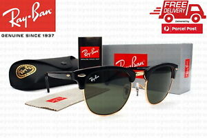 New Classic Ray-Ban Clubmaster RB3016 W0365 51mm Black Frame Green Lenses