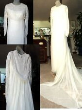 SALLY MILGRIM~Ivory Lace & Silk Long-sleeve Wedding Dress Sz 8/10 (L)