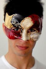 Mens Masquerade Mask - ITALIAN Made - OVERNIGHT Metro Aust - Vivaldi Zane Gold