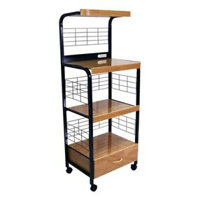"""59.5"""" Tall -Tier Microwave Kitchen Cart with Drawer and Outlet, Black and Nat..."""
