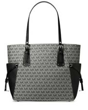 NWT MICHAEL Michael Kors Jacquard Signature Voyager East West Tote graphite