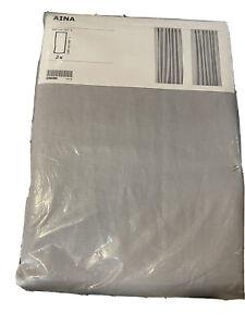 """IKEA AINA 100% Linen Light Grey Curtain Panels 57 × 98"""""""