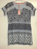 White Stuff Camilla Linen Jersey Tunic Top Grey rrp £50 LS078 DD 18