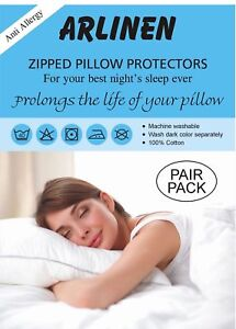 Pair of Pillow Protector 100% Cotton With Zip, White,Size 74x48cm, Anti Allergy