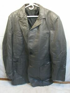 Vintage Sears Leather Shop Car Coat 3/4 Jacket Western Gray 44 Tall