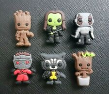6 x Guardians Of The Galaxy Shoe Charms PVC Rubber Holey Clogs shoes charm