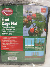 New Ambassador Fruit Cage Net Black Protection From Birds 16Mtr X 2Mtr AFG162