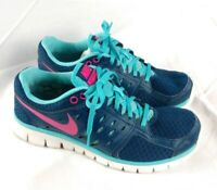 Nike Womens Sz 9.5 Flex 2013 Run Running Shoes Blue/Pink 580440-403 (No Insoles)