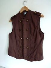 Ladies Lovely Oasis Brown Mock Button Waist Coat Size 12, Vgc