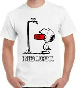 Snoopy T-Shirt Funny Charlie Brown Art I Need A Drink Cool Vintage Retro Unisex