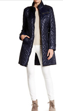 NWT Cole Haan Quilted Leather Trim Belted Coat NAVY Size  L   RT $500