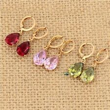 Fashion crystal Earings yellow Gold Plated Green Red Dangle Drop Earrings