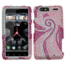 For Motorola DROID RAZR MAXX Crystal BLING Hard Case Snap Phone Cover Pink Tail