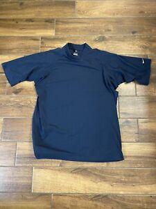 NIKE Men's Golf T-Shirt Turtle Mock Neck Shirt Dri Fit UV Navy Blue XL A1