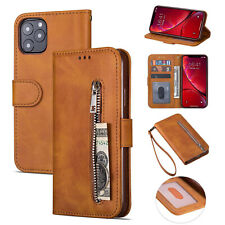 For iPhone 11 Pro Max XR Case 6s 7 8 Plus XS Leather Zipper Wallet Stand Cover