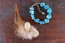 Stunning Handmade Turquoise Chunks and Silver Beaded Bracelet