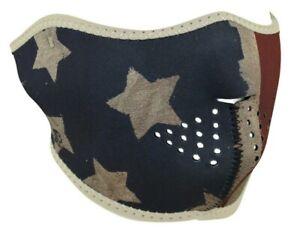 Zan Headgear Distressed Faded USA Flag Motorcycle Ski Half Face Neoprene Mask