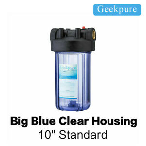 """4.5"""" x 10"""" Big Water Filter Clear Blue Color Housing For Whole House 1"""" Port"""