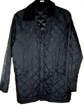FERAUD MENS BLACK QUILTED JACKET/COAT WITH CORDUROY COLLAR SIZE LARGE
