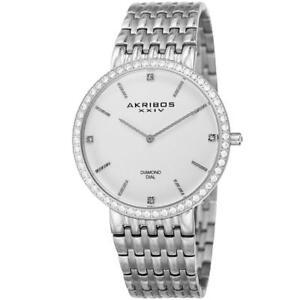 Akribos XXIV AK866SS Diamond Dial Date Quartz Stainless Steel Mens Watch