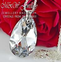 925 Silver Necklace Pear/Almond 28mm Crystal CAL - Crystals From Swarovski®