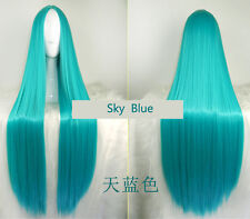 "No Bang Straight Centre Parting Turquoise Sexy 39""Cosplay Wig Party Hair"