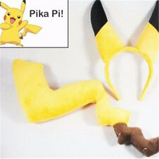 Yellow Pokemon go Pikachu Tail and Ears Hair Clasp Anime Cosplay Costume classic