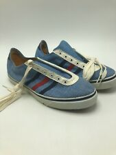 Sun 'n Surf Shoes Vintage 1960s Blue Red Stripes Womens 7 Canvas Deck Tennis